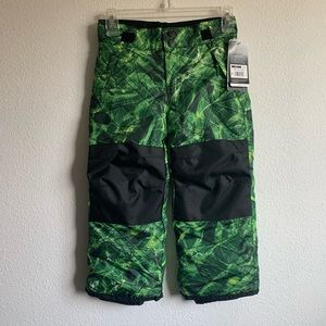New Youth Snow Pants XS 4/5 Green and Black